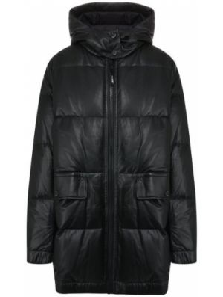 Кожаная куртка с капюшоном - черная Army Yves Salomon