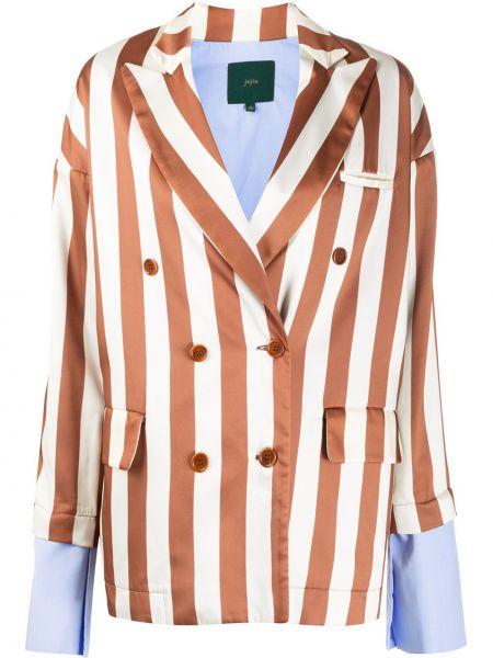 Классический пиджак двубортный в полоску на пуговицах Jejia