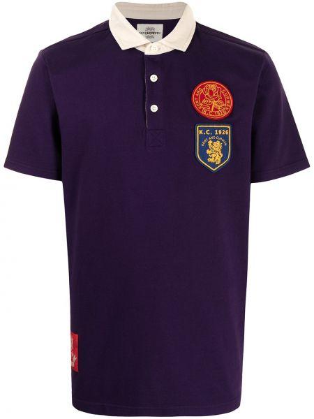Fioletowa koszula krótki rękaw bawełniana Kent & Curwen