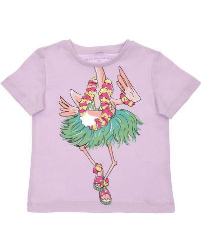 Fioletowy t-shirt bawełniany z printem Stella Mccartney Kids