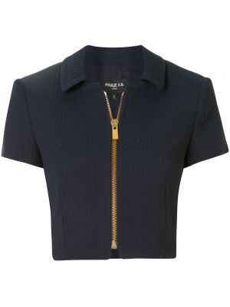 Синий короткая куртка с короткими рукавами с воротником Paule Ka
