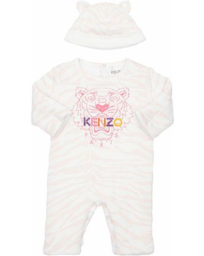 Bawełna bawełna różowy kapelusz z aplikacjami Kenzo Kids