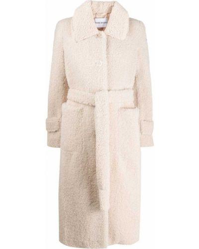 Белое пальто классическое с капюшоном с воротником Stand