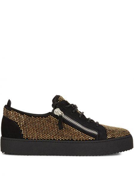 Koronkowa skórzany czarny sneakersy zasznurować Giuseppe Zanotti