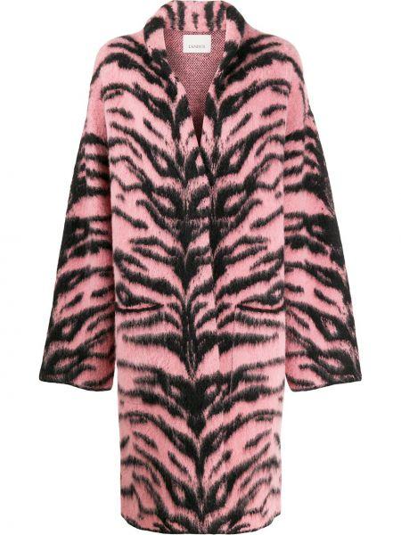 Шерстяное розовое длинное пальто с накладными карманами Laneus