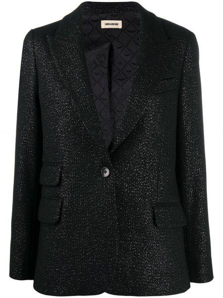 Шерстяной однобортный черный классический пиджак Zadig&voltaire