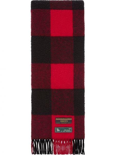 Prążkowany czarny szalik wełniany Gucci
