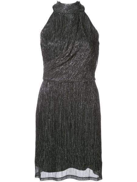 Черное платье мини без рукавов с вырезом узкого кроя Halston Heritage