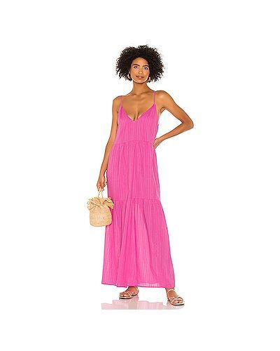 Шелковое розовое платье на бретелях с декоративной отделкой Tularosa
