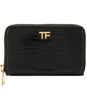 Кожаный кошелек черный с рисунком Tom Ford