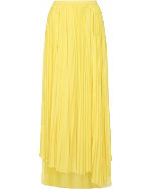 Желтая асимметричная юбка макси с поясом узкого кроя John Galliano