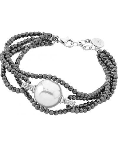 Серебряный браслет с подвесками с камнями Majorica