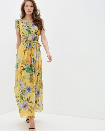 Прямое желтое платье Арт-Деко
