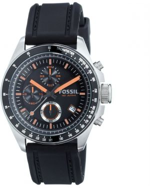 Czarny sport zegarek srebrny Fossil
