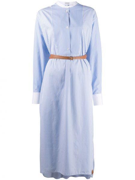 С рукавами синее платье макси в полоску Loewe