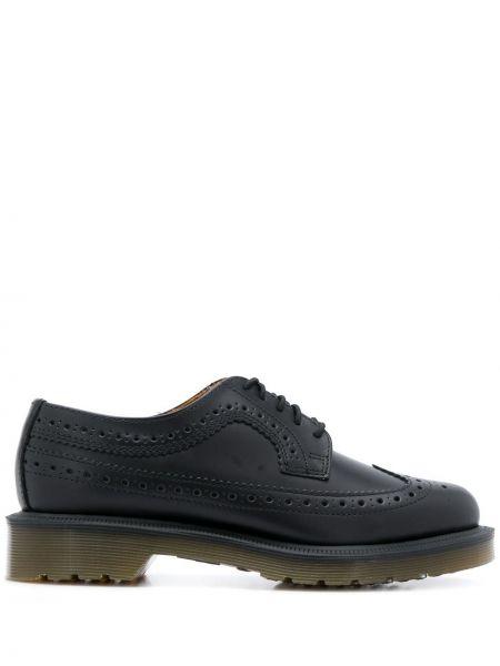 Koronkowa skórzany czarny buty brogsy na sznurowadłach Dr. Martens