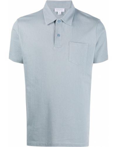 Синяя прямая рубашка с коротким рукавом с воротником с карманами Sunspel