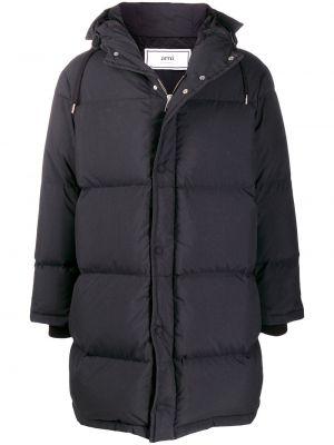 Czarna kurtka z kapturem z długimi rękawami Ami