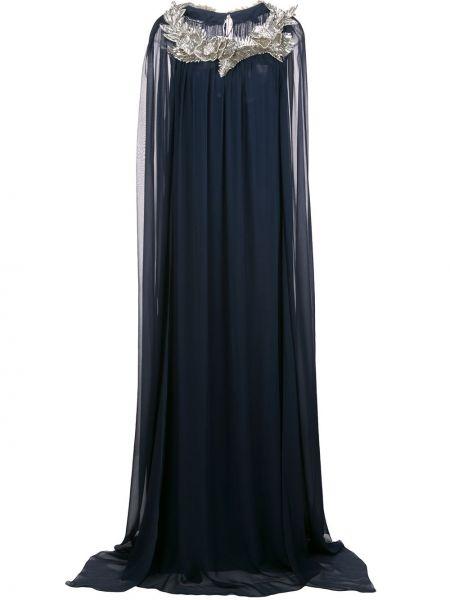 Вечернее платье с цветочным принтом в рубчик Oscar De La Renta