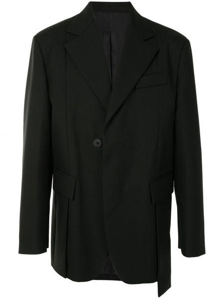 Однобортный черный пиджак с карманами на пуговицах Wooyoungmi