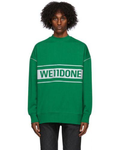 Махровый зеленый свитшот с воротником с манжетами We11done