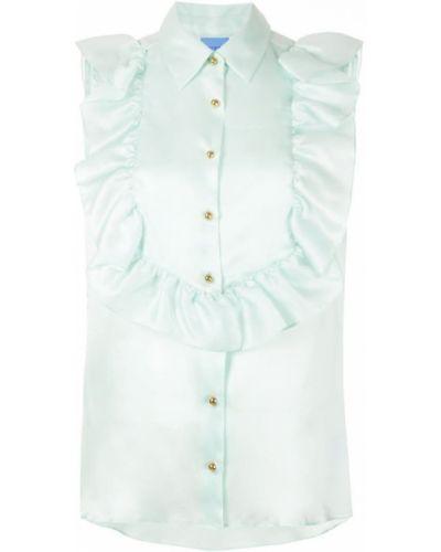 Блузка без рукавов с рюшами зеленый Macgraw