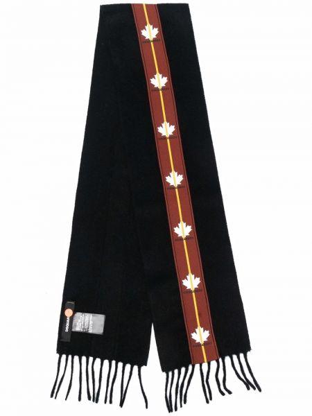 Czarny szalik wełniany z printem Dsquared2