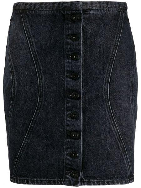 Облегающая хлопковая черная юбка мини на пуговицах Marcelo Burlon. County Of Milan