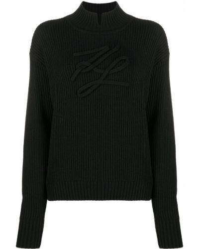 Шерстяной с рукавами вязаный джемпер Karl Lagerfeld