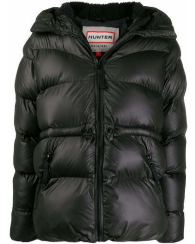 Прямая черная куртка с капюшоном Hunter
