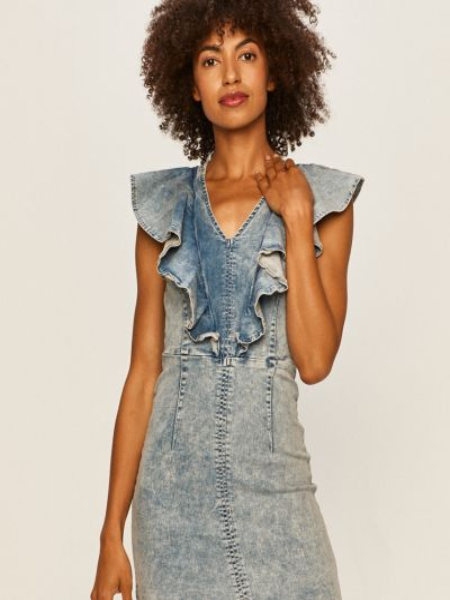 Хлопковое джинсовое платье с вырезом с оборками Tally Weijl