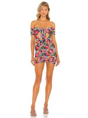 Платье мини с декольте - розовое Lovewave