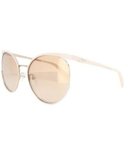 Beżowe okulary Salvatore Ferragamo