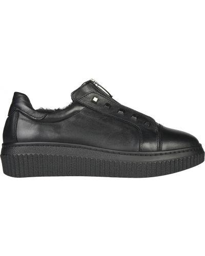 Кожаные кроссовки - черные L'estrosa