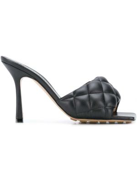 Кожаные черные мюли на каблуке квадратные Bottega Veneta
