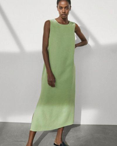 Зеленое прямое платье Massimo Dutti