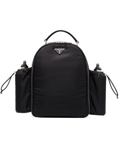 Czarny plecak srebrny Prada