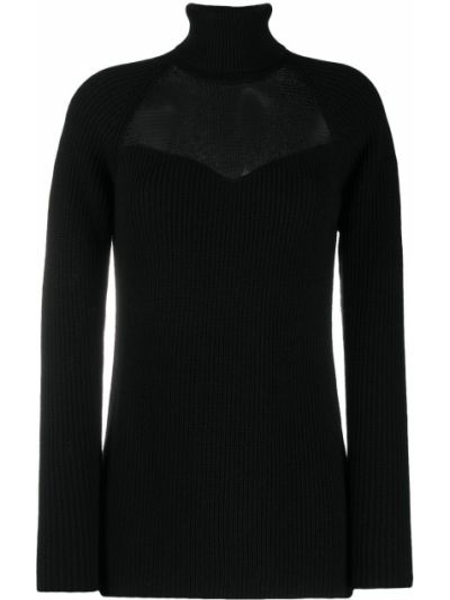 Черный акриловый свитер с воротником в рубчик Elisabetta Franchi