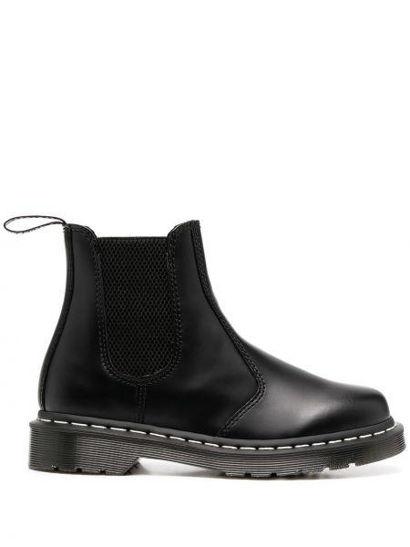 Skórzany czarny buty na pięcie okrągły na pięcie Dr. Martens