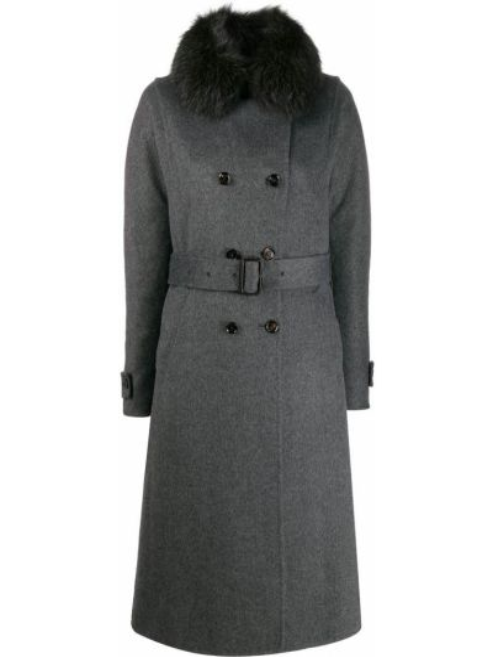 Коралловое шерстяное длинное пальто с поясом с воротником Moorer