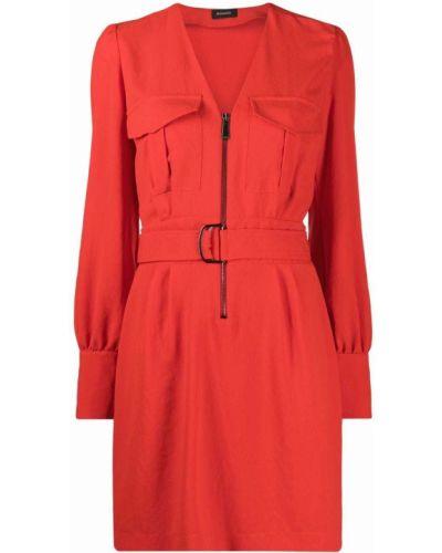 Красное платье мини с поясом с вырезом Pinko