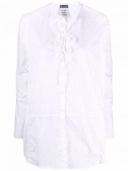 Белая хлопковая рубашка с длинным рукавом с воротником Kristensen Du Nord