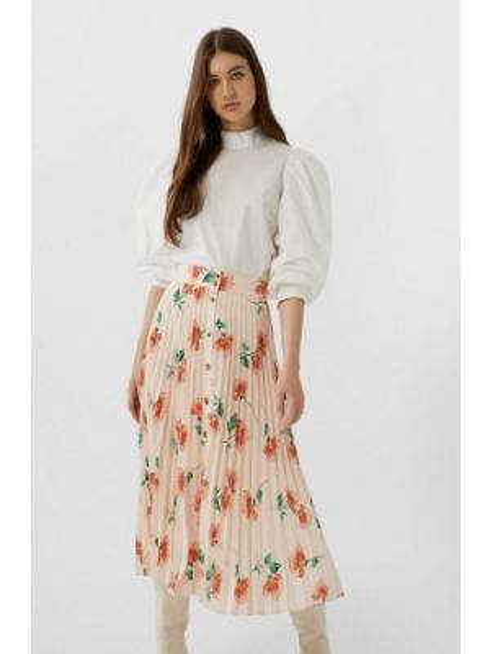 Плиссированная юбка розовая весенняя Stradivarius