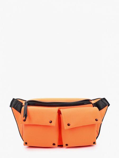 Оранжевая нейлоновая поясная сумка с помпоном Labbra