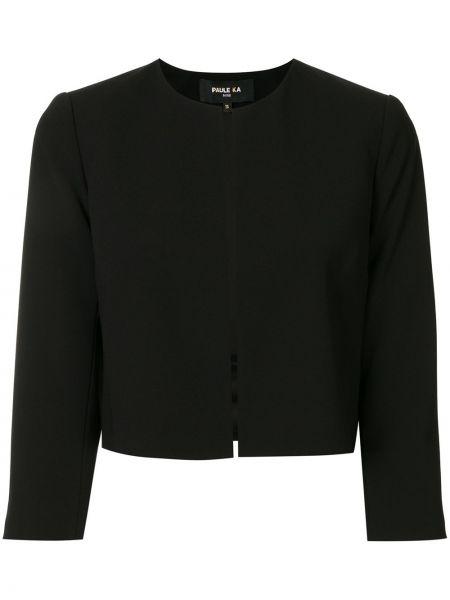 С рукавами черный удлиненный пиджак с подкладкой с потайной застежкой Paule Ka
