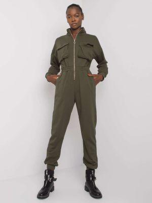 Kombinezon materiałowy - khaki Fashionhunters