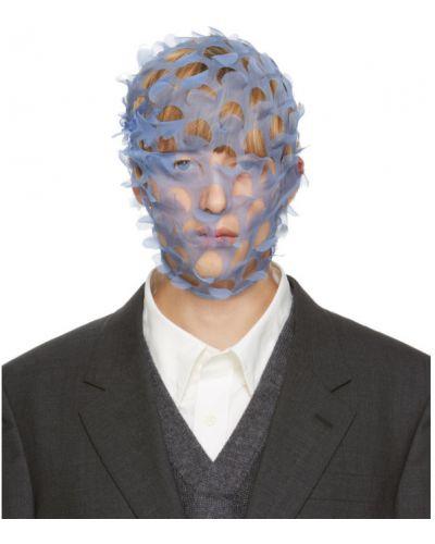 С кулиской синяя шелковая вуалетка Maison Margiela