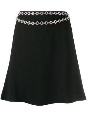Шелковая черная с завышенной талией юбка мини на молнии Christopher Kane