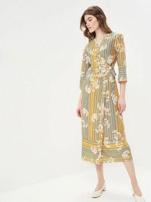 Платье с запахом желтый Sisley