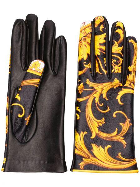 Skórzany rękawiczki czarny żółty Versace